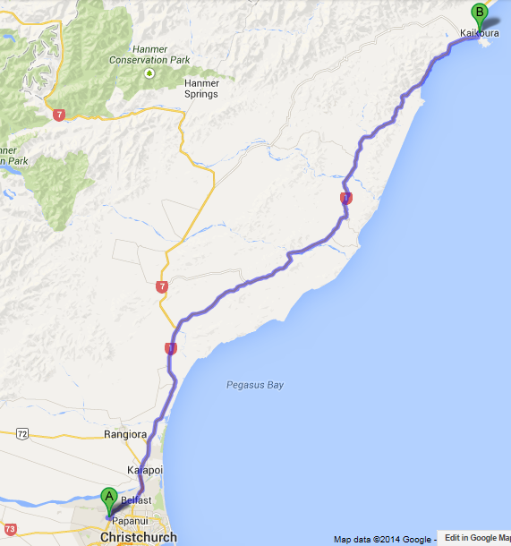 nz d1 christchurch to kaikoura map