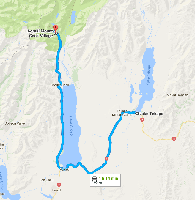 map tekapo to mount cook