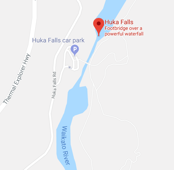 huka fall map